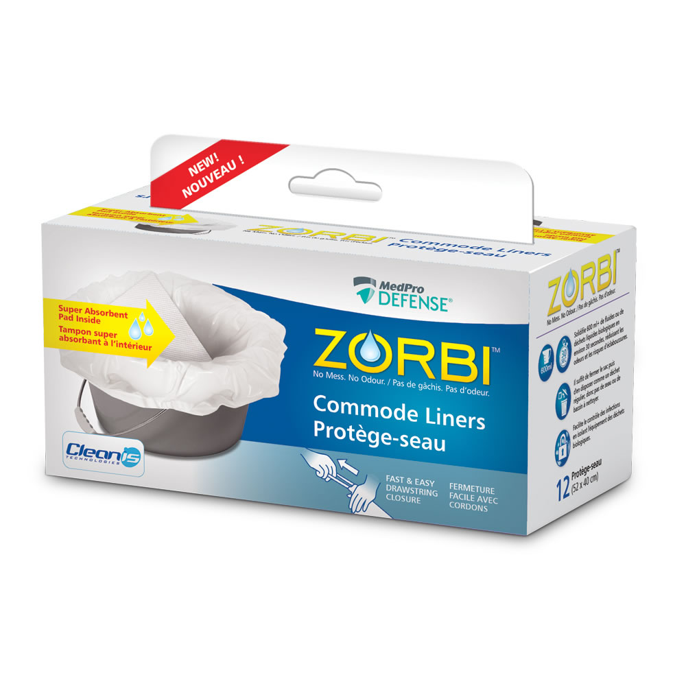 ZORBI™ Commode Liners with easy drawstring closure