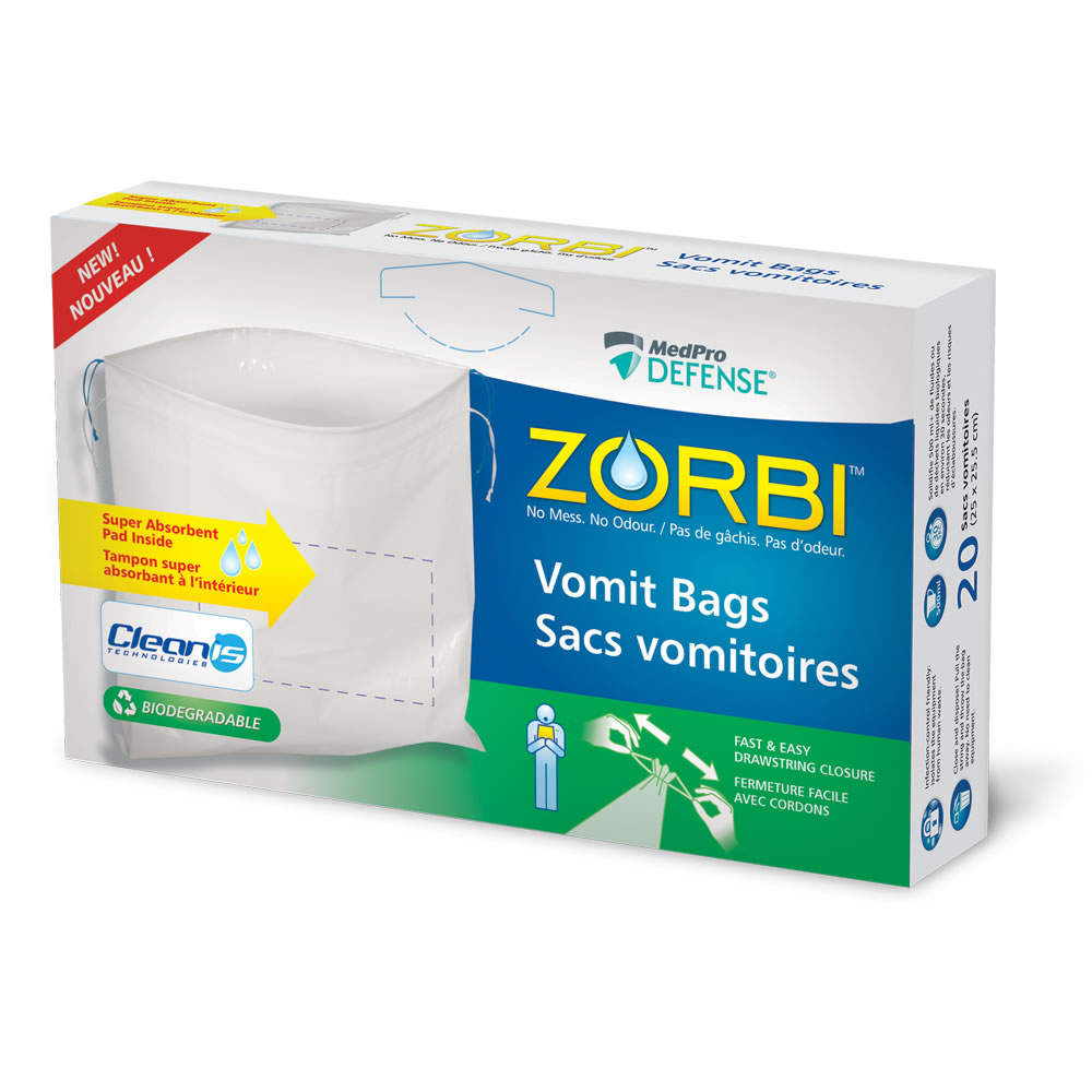 ZORBI™ Vomit Bags with Cleanis Technology inside