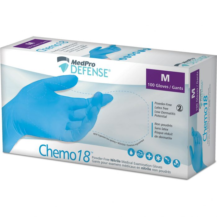 Powder-Free Nitrile Medical Examination Gloves, Chemo 18™, Blue, Medium