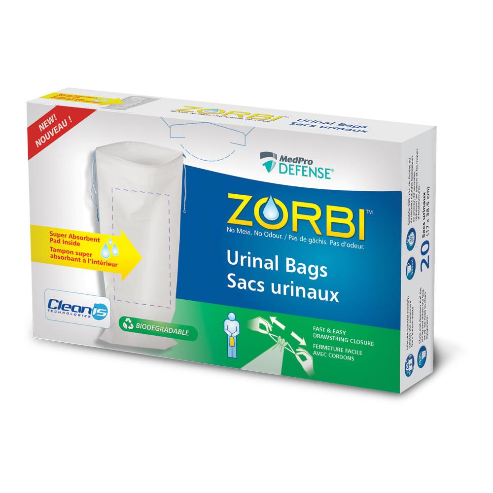 Sacs urinaux ZORBI™ avec technologie Cleanis à l'intérieur