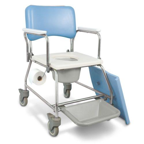 Chaise d'aisance / de douche avec appuis-bras pivotants avec seau, AquaCare