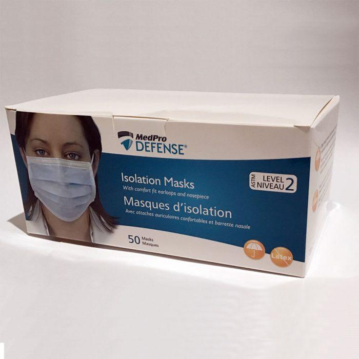 Masques d'isolation, attaches auriculaires, ASTM de niveau 2, bleu