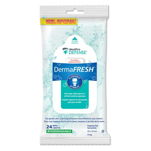Flushable and maceratable Cleansing Wipes by DermaFresh