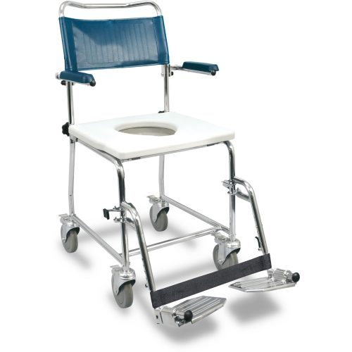 Chaise d'aisance Euro avec appuis-bras rétractables vers le haut, compatible aux bassins de lit jetables